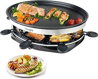 Appareil à Raclette Grill avec Revêtement anti-adhésif 8 Coupelle pour 8 Personnes 1500W Noir