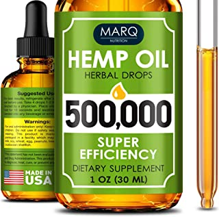 Hemp Seed Oil Drops 500,000 – Colorado Seed Extract - Natural Omega 3, 6, 9 Source - Grown and Made in USA - Balances Mood...