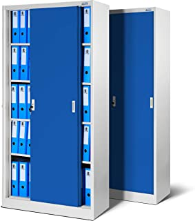 Jan Nowak by Domator24 - Juego de 2 armarios de Oficina SD001 con Puertas correderas, Chapa de Acero, estantes barnizados ...