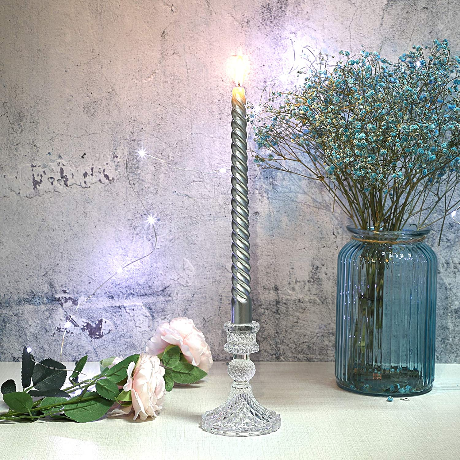 """4/""""H Modern Crystal Candelabra Pillar Glass Candle Stand Candleholder for Wedding Dinning Table Centerpieces Home Decoration OwnMy Glass Taper Candle Holder Decorative Candlestick Holder Clear"""