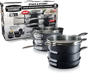 GRANITESTONE 2660 Granite Stone Stack Master 10 Piece Cookware Set, Large, Black