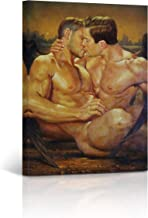 Buy4Wall Angel Wings Gay Art Oil Painting Canvas Print Kissing Couple LGBT Naked Nude Sexy Wall Art Home Decor Artwork Stretched and Framed - Ready to Hang -%100 Handmade in The USA - 12x8