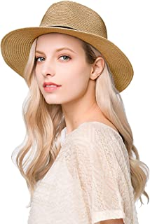 Einskey Women's Straw Hat Foldable Summer Beach Wide Brim Sun Hat UV Protection Safari Hat 54-59 cm