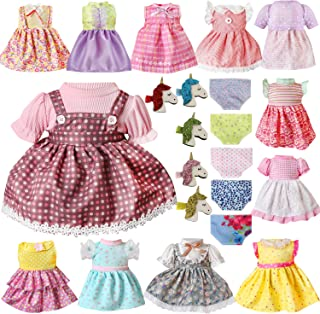Voccim 22 Pcs Girl Doll Clothes Dresses Outfits for Baby Alive 12 14 16 18 Inch American Doll Clothes and Accessories Include 12 Clothing 5 Unicorn Hairpin and 5 Doll Underwear