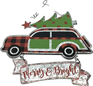 Vintage Style Galvanized Metal Station Wagon with Red Black Buffalo Check Hanging Sign Christmas Tree