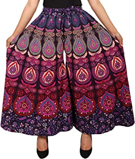 WHITE MANY Jaipuri Cotton Printed Palazzo Pants for Women's | Traditional & Stylish Palazzos for Girls (Free Size)