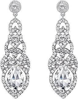 BriLove Women's Wedding Bridal Crystal Art Deco Teardrop Hollow Chandelier Dangle Earrings