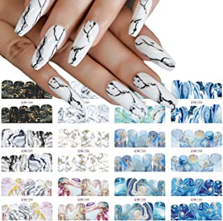 Marble Nail Art Sticker Decals, Full Wraps Marble Print Nail Sticker DIY Nail Decoration for Women Girls Kids Water Transf...
