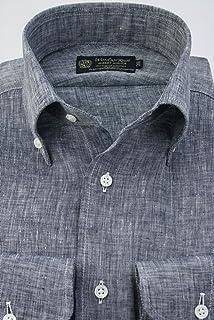 (ウィンザーノット アルバートアベニュー) Windsorknot Albert Avenue フレンチリネンのボタンダウンカラードレスシャツ 長袖 ネイビー無地 シャンブレー 麻100% 日本製 (細身) bd4561