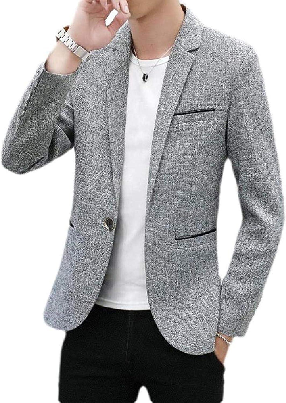 Mens Notch Lapel 1 Button Long Sleeve Slim Fit Solid Blazer Jacket Sport Coat