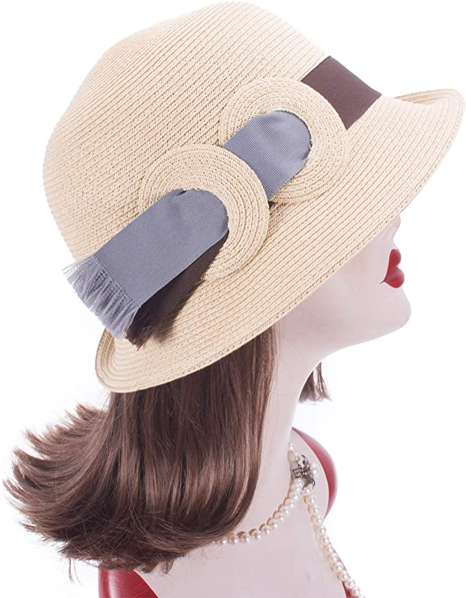 1920s Hat Styles for Women – History Beyond the Cloche Hat Lawliet Asymmetrical Elegant Womens Downton Abbey Style Cloche Bucket Straw Sun Hat T419  AT vintagedancer.com
