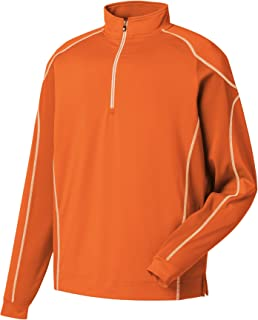 FootJoy Mens Mixed Texture 1/2 Zip Pullover -Orange - Previous Season Style