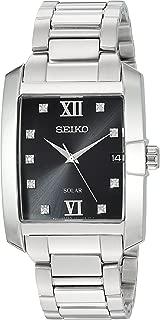 Seiko Men's Solar Rectangular Stainless Steel Watch