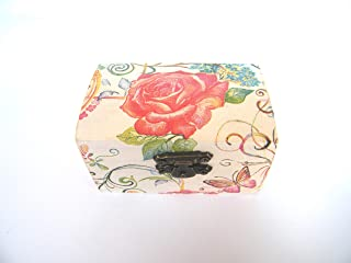 Cajita de Madera Joyero Floral, Elegante Caja de Almacenamiento para Mujer, Hecha a mano 9x5.5x5cm