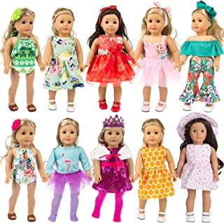 ZITA ELEMENT 24 Pcs Girl Doll Clothes Dress for American 18 Inch Doll Clothes and Accessories - Including 10 Complete Set ...