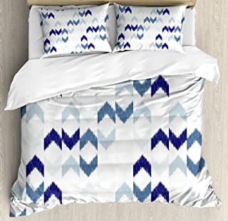 Ambesonne Navy Duvet Cover Set, Abstract Ikat Chevron with Hazy Zigzag Folk Traditional Image, Decorative 3 Piece Bedding Set with 2 Pillow Shams, Queen Size, Blue Purple