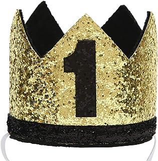 تاج عيد الميلاد الأول للأطفال، إكسسوار قبعة لامعة للبنات والأولاد لعيد الميلاد الأول