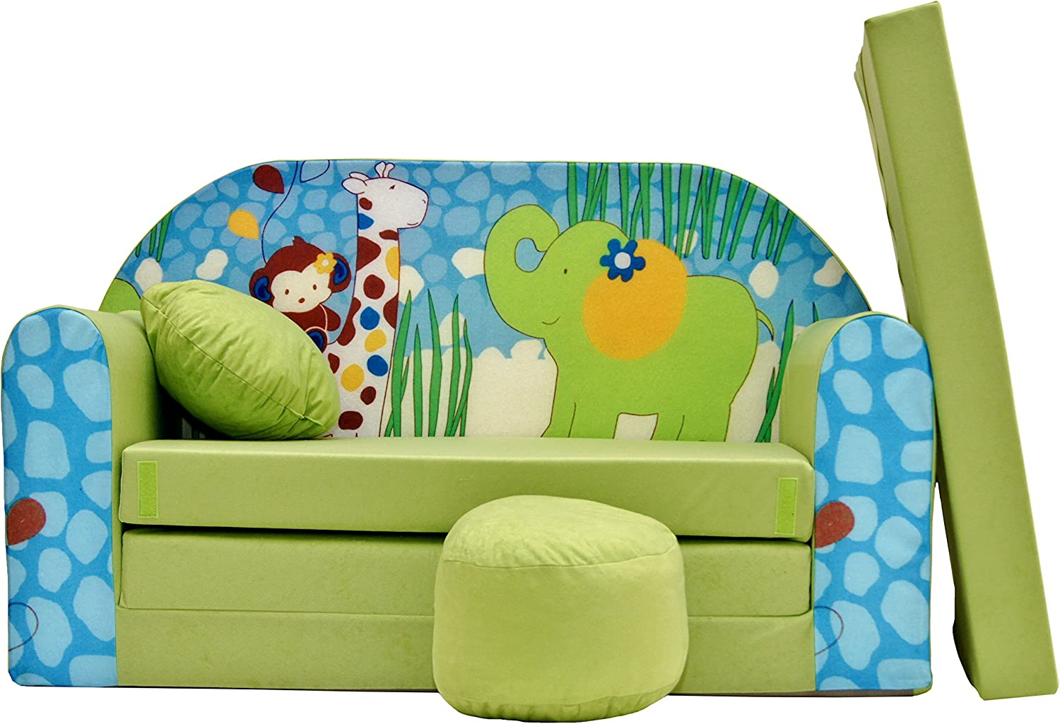 Pro Cosmo Z16 Kids Sofa Bed Futon with Pouffe Footstool Pillow, Fabric, Green, 168 x 98 x 60 cm, cotton,