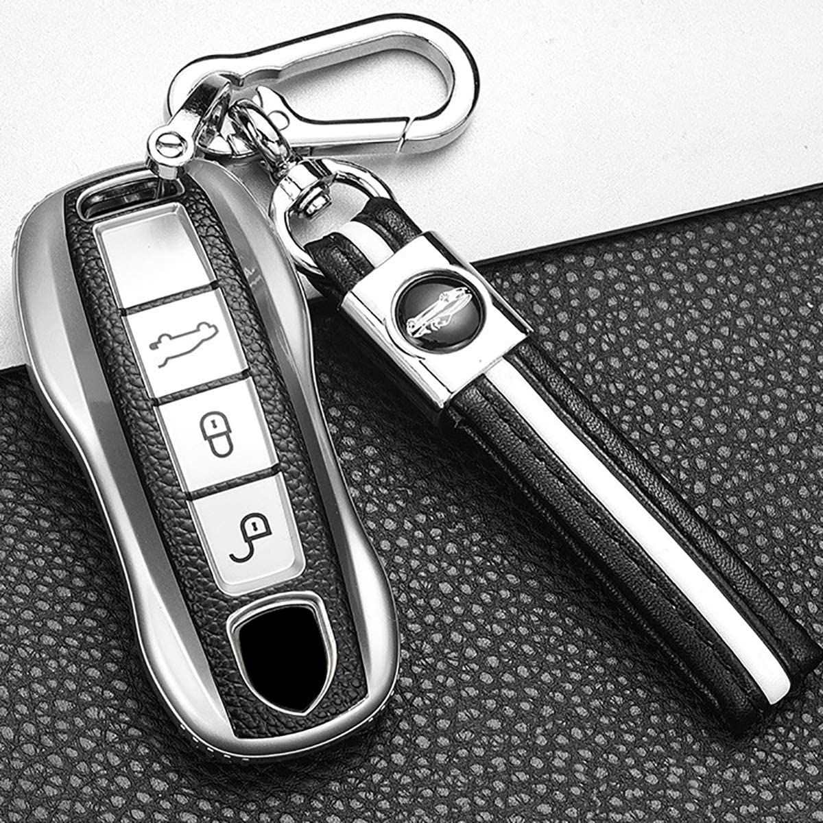 ontto Stylish Key Fob Cover for Porsche 2020 2021 Key Case Soft TPU Key Shell with Keychain for Panamera Cayenne Macan 2019 2020 Remote Keyless Green