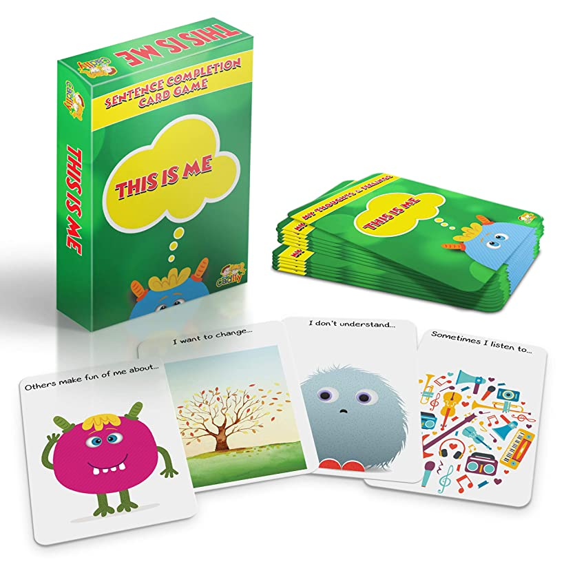 Cadily This is Me: Sentence Completion Therapy Games | Used As Social Skills Games | Counseling Games | School Games | Play Therapy Toys for Parents & Professionals to Teach Kids to Express Feelings