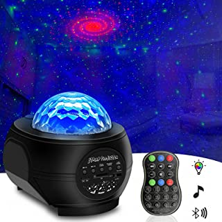 QWOO Star Night Light Projector, Remote Control Ocean Wave LED Star Light Projector with Bluetooth Music Speaker for Kids Bedroom Decoration Party Home Holidays Ambiance
