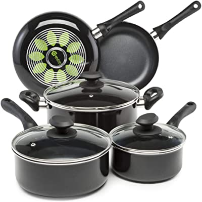 Ecolution Artistry Nonstick Cookware Set Pots and Pans, Dishwasher Safe, Scratch Resistant, With Easy Food Release Interior, Cool Touch Handles, and Even Heating Base, 8 Piece, Black