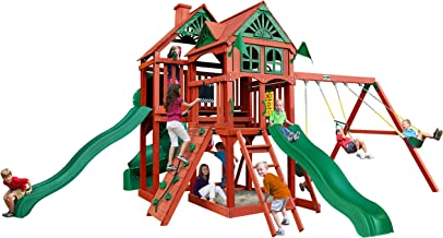 Gorilla Playsets Five Star II Deluxe Wooden Swing Set with 3 Slides, Punching Ball, and Chalkboard Kit