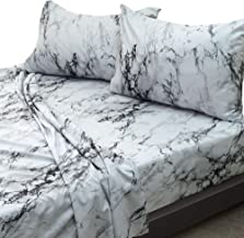 Essina Microfiber Super King Bed Sheet Set 3pc Arcadia Collection, Soft and Lightweight, White Marble