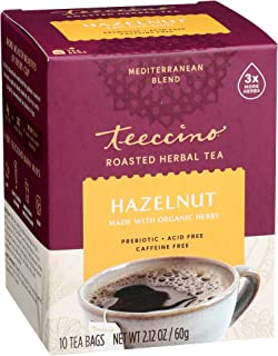 Teeccino Herbal Tea – Hazelnut – Rich & Roasted Herbal Tea That's Caffeine Free & Prebiotic for Natural Energy, 10 Tea Bags