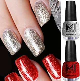 MI Fashion 12 ml each Platinum Glitter Long Lasting Nail Polish Colors at Your Fingertips(Silver and Red)