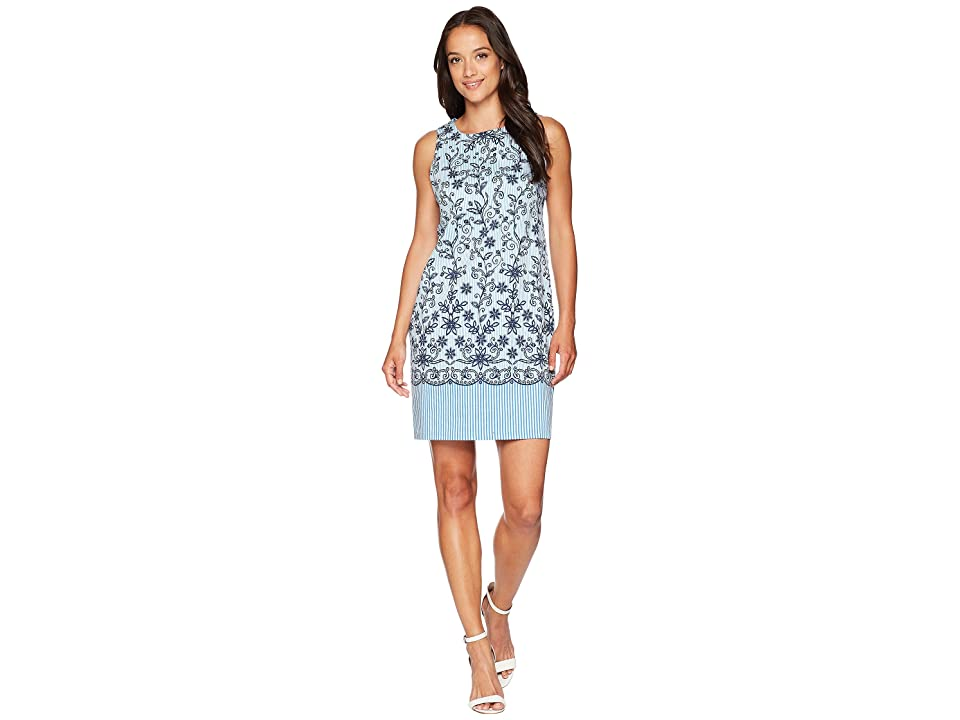 London Times Embroidered Stripe Dress (White/Blue) Women