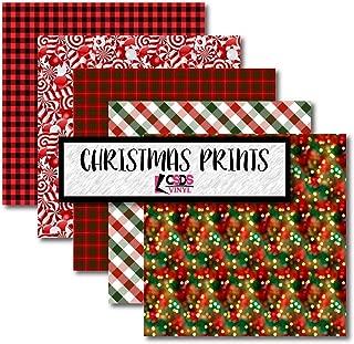 Christmas Printed Adhesive Vinyl Bundle Pack CSDS Vinyl Christmas Craft Vinyl Holiday Heat Transfer Vinyl Christmas Candy Patterned Vinyl Red and Green Christmas HTV (Adhesive Vinyl)