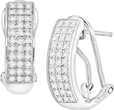 diamond french clip earrings