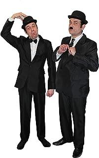 ILOVEFANCYDRESS DICK+DOOF= MÄNNER SCHWARZ Brother of Blues Fasching Karneval Themen Party= 2 ANZÜGE +2 MELONEN +1 Krawatte +1 Fliege+ 1 Set AUGENBRAUEN+SCHNÄUTZER=MEDIUM++XLarge