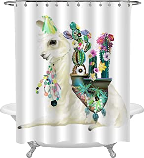 Cute Hand Painted Mexican Llama Shower Curtain, Alpaca with Ethnic Blanket, Flowers, Boho Feathers Decoration and Blooming Cactuses, Art Print Decor for Animal Lover's Bathroom Shower Stall, 72 x 72