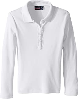 Long Sleeve Polo with Ruffle Placket (Big Kids)