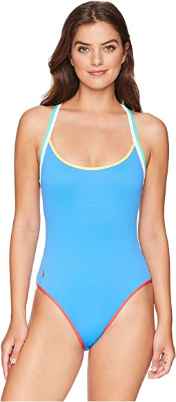 Modern Solids - Doubling Binding Racerback One-Piece Swimsuit