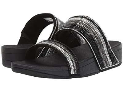 FitFlop Rosa Crystal Mosaic Slide (All Black) Women