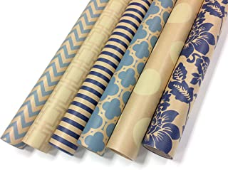 Kraft Blue and Cream Wrapping Paper Set - 6 Rolls - Multiple Patterns: Chevron, Casablanca, Damask, Wide Stripe, Geo Block, Large Polka Dots - 30