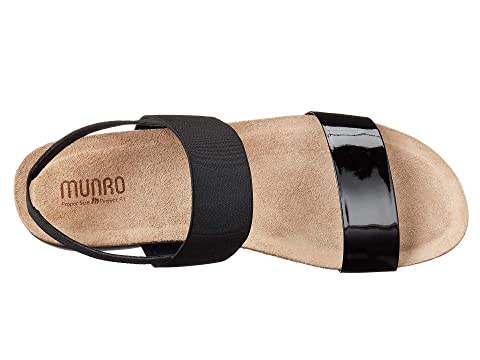 D Munro American Womens Niki Black Patent//Black Fabric Sandal 9.5 W