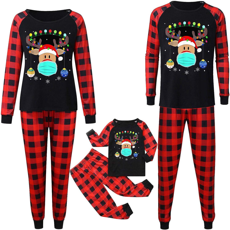 Men's Sleepwear Merry Christmas 2020 Pajamas for Family Red Plaid Loungewear Sleepwear Set Men