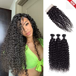 Msjoli Brazilian Virgin Human Curly Hair 3 Bundles With Closure 22 24 26+20 Jerry Curly Hair Weave Bundles With 4X4 Free Part Closure Natural Black (22/24/26+20, Bundles With Closure)