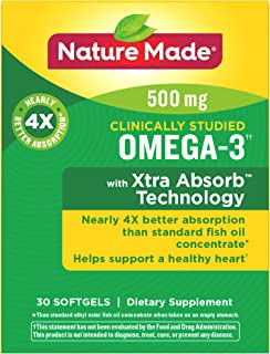 Nature Made Omega-3 with Xtra Absorb Technology Softgels w. 500 mg EPA & DHA 30 Ct