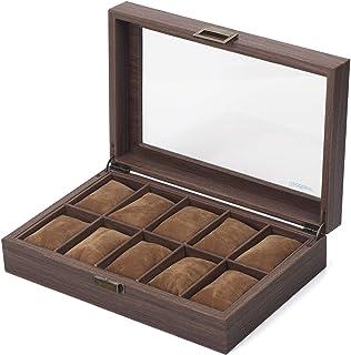 Scatola per orologi/Cofanetti Orologi/fatto di similpelle con venature del legno, coprire con vero vetro, (10 scomparti)