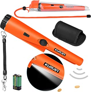 kuman Pinpointer Metal Detector Kit with Multifunctional PVC Waterproof Case and Holster 360° Scanning Treasure Hunting Unearthing Tool Accessories Buzzer Vibration Automatic Tuning KW30S