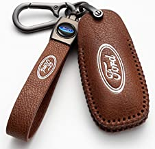 $23 » (Brown) For Ford Key Fob Cover, Genuine Leather Key Fob Case Full Protection Case is Compatible With 2013-2016 Ford Fusion...