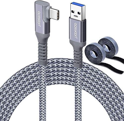 aceyoon Oculus Link, 6m Cable Transfert de données Haute Vitesse 5 Gbps USB3.1 vers Type C 90 Degrés Cable de Charge ...