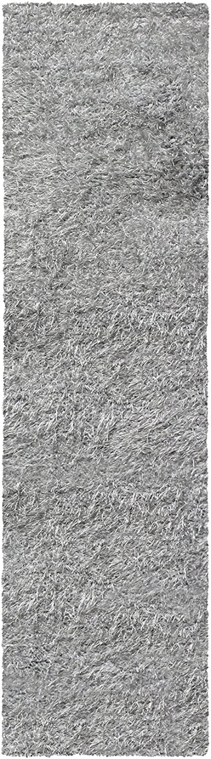 Hand Woven Elegant and Soft Shag Rug (2.6X8 Runner) - Silver