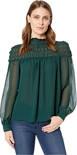 Long Sleeve Poly Chiffon Smocked Mock Neck Blouse