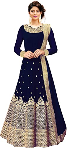 Women s Embroidered Fentam Silk Semi Stitched Anarkali Gown Free Size Blue